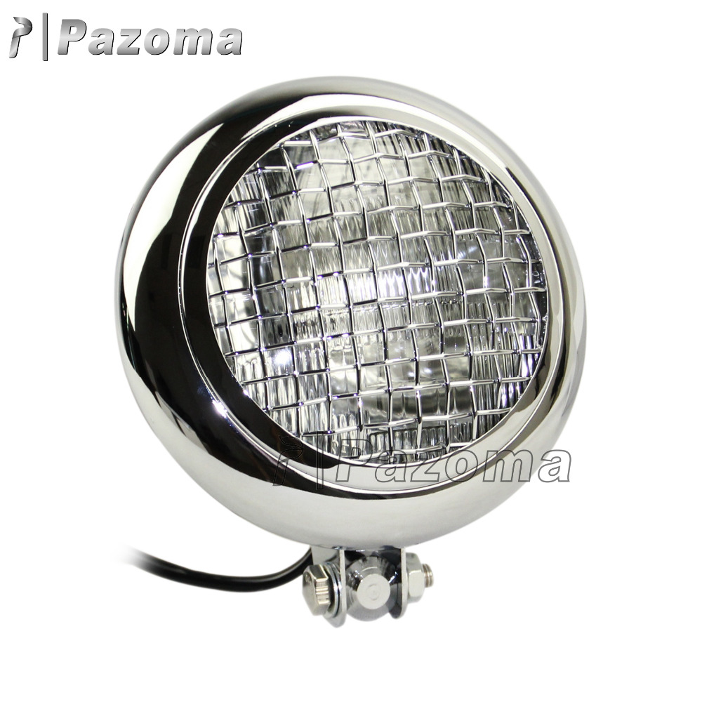 "Pazoma 7.7"" Chrome Motorcycle Parts Headlight With Mesh Grill For Triumph Cafe Racer Scrambler"
