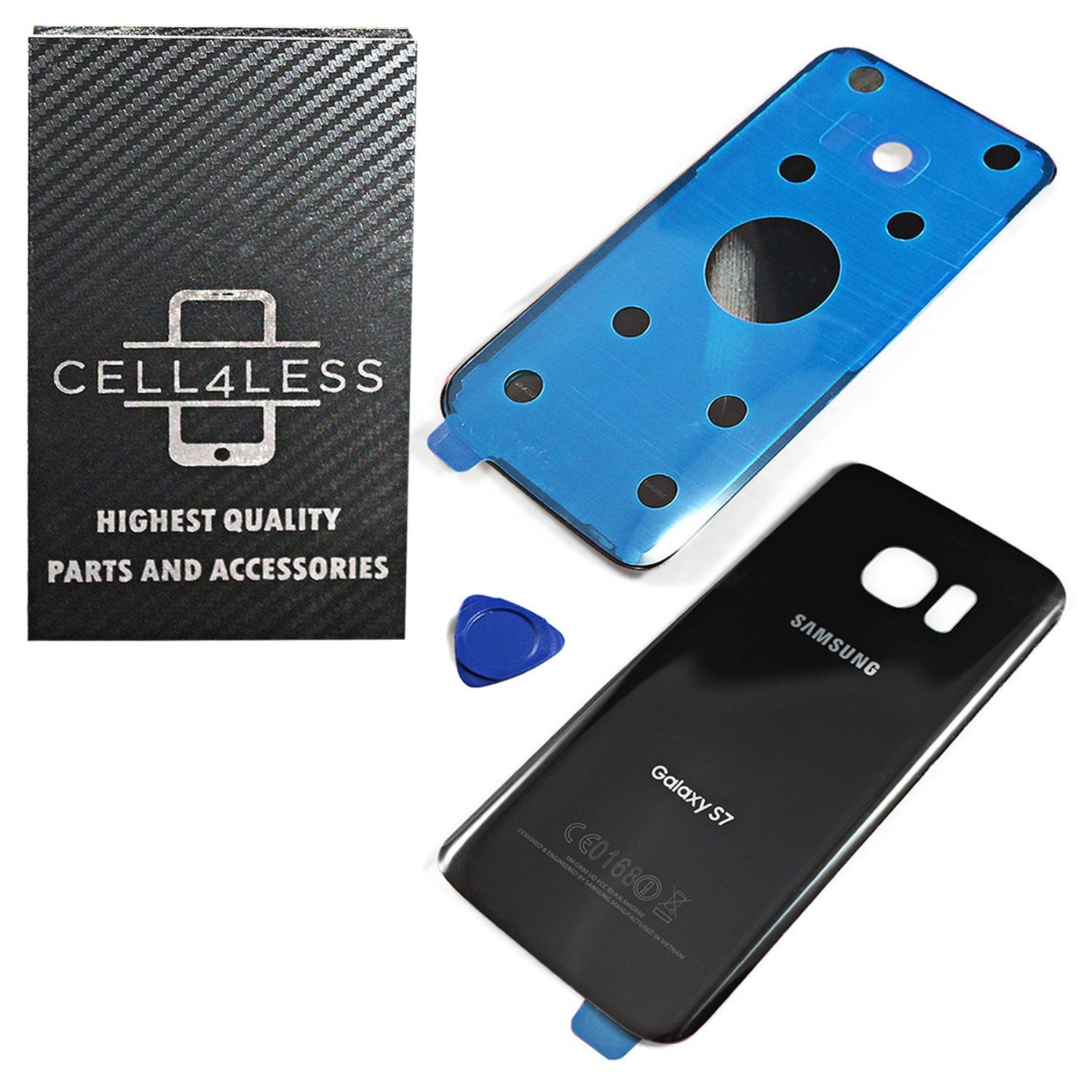 CELL4LESS Compatible Back Glass Cover Back Battery Door w/ Pre-Installed Adhesive Replacement for Samsung Galaxy S7 - All Models G930 All Carriers- 2 Logo - OEM Replacement (Black Onyx)