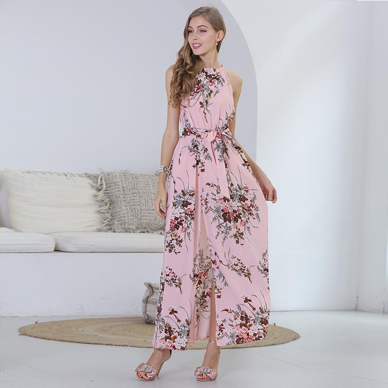 Guangzhou New Design Sleeveless High Waist Halter Neck Elegant Floral Print Evening Gown Flowing Long Chiffon Evening Dress фото