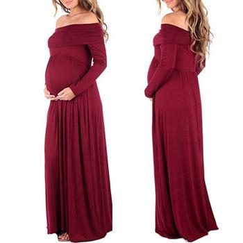 121164225 Nueva venta caliente de las mujeres cuello de manga larga hombro sólido  embarazada fotografía maternidad ropa