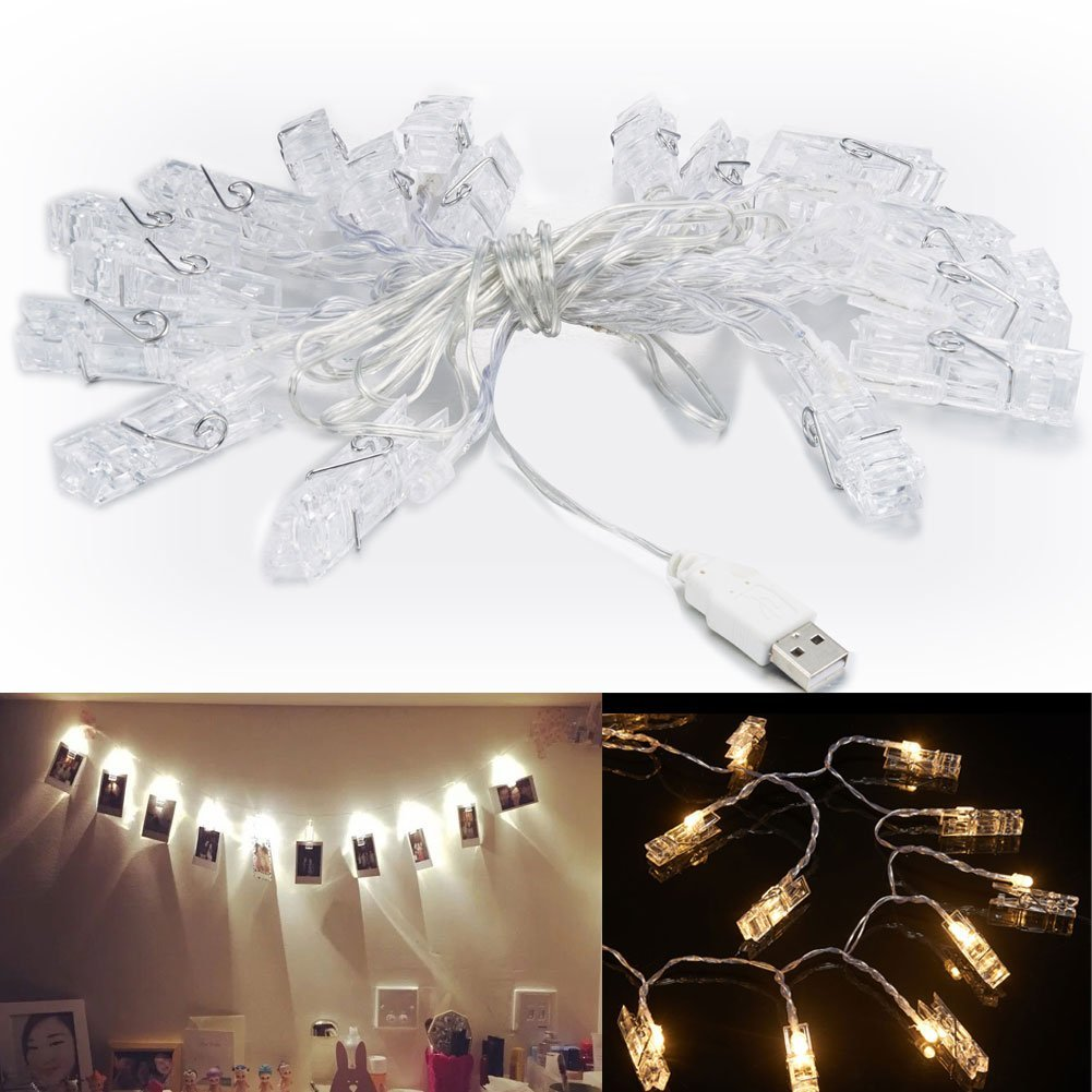 Buy Accmor 21ft LED Photo Clip String Lights,USB Lights with 30 ...
