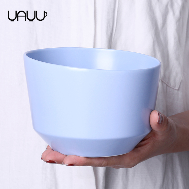 Nordic style blue matte ceramic dinner bulk salad bowls / pasta bowl for sale