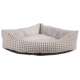 special triangle plaid pattern grey short plush dog bed