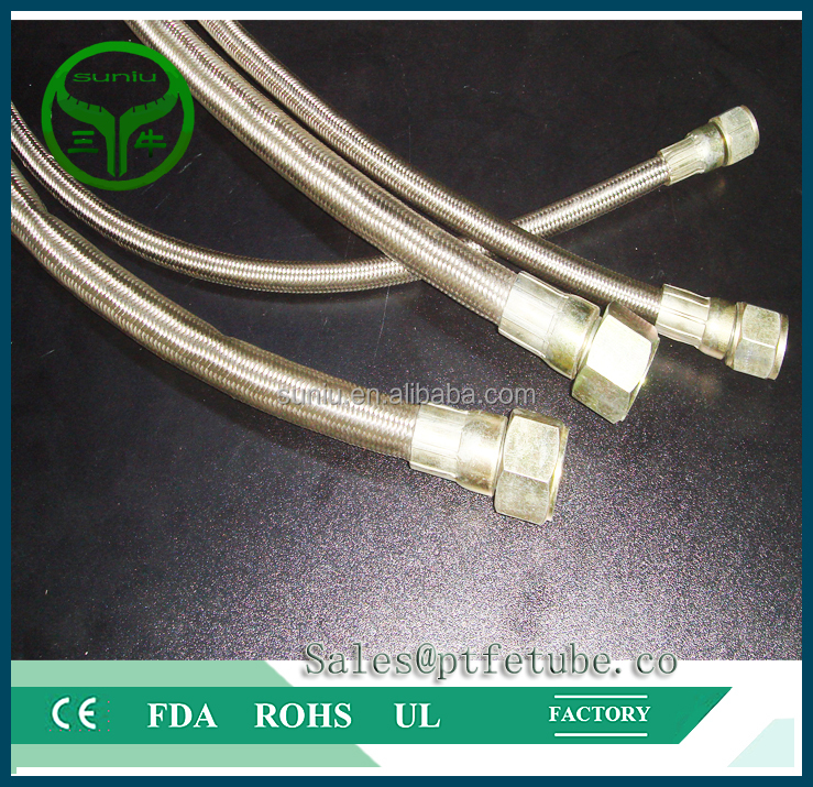 S.S. Wire Braided high temperature Teflon tube PTFE Hose (Smooth)