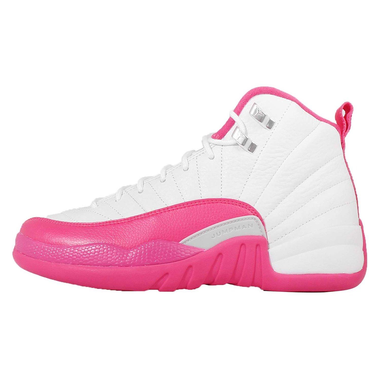 Nike Boys Air Jordan 12 Retro GG White/Vivid Pink-Metallic Silver Leather