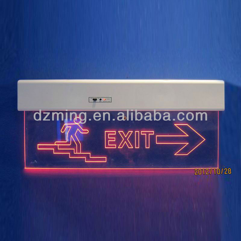 Transparent LED edge-lit Fire Exit Indicator Light