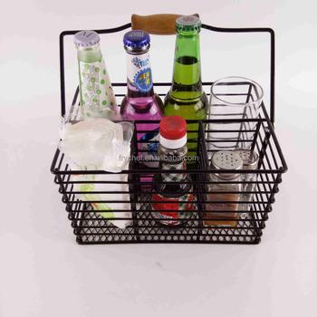 Metal Utensil Basket,Metal Condiment Caddy Basket,Black Powder Coating With Wooden Handle Storage Basket F0242 - Buy Metal Wire Storage Baskets With ...