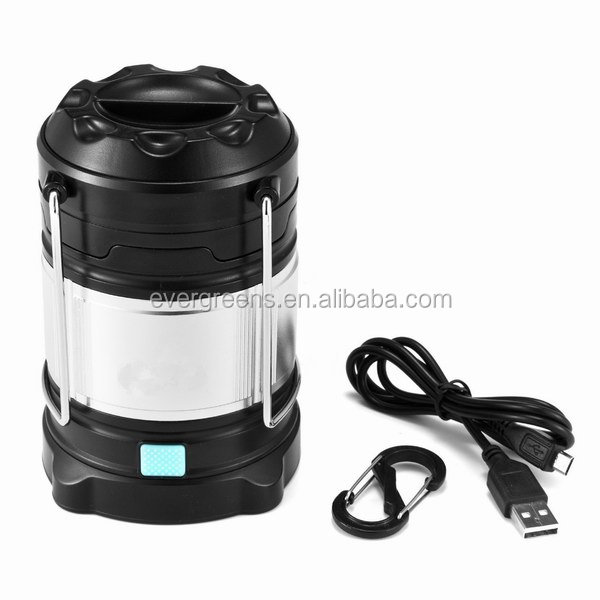Dual power source led camping light, camping lantern and camping lamp with power bank for mobile phone, SOS