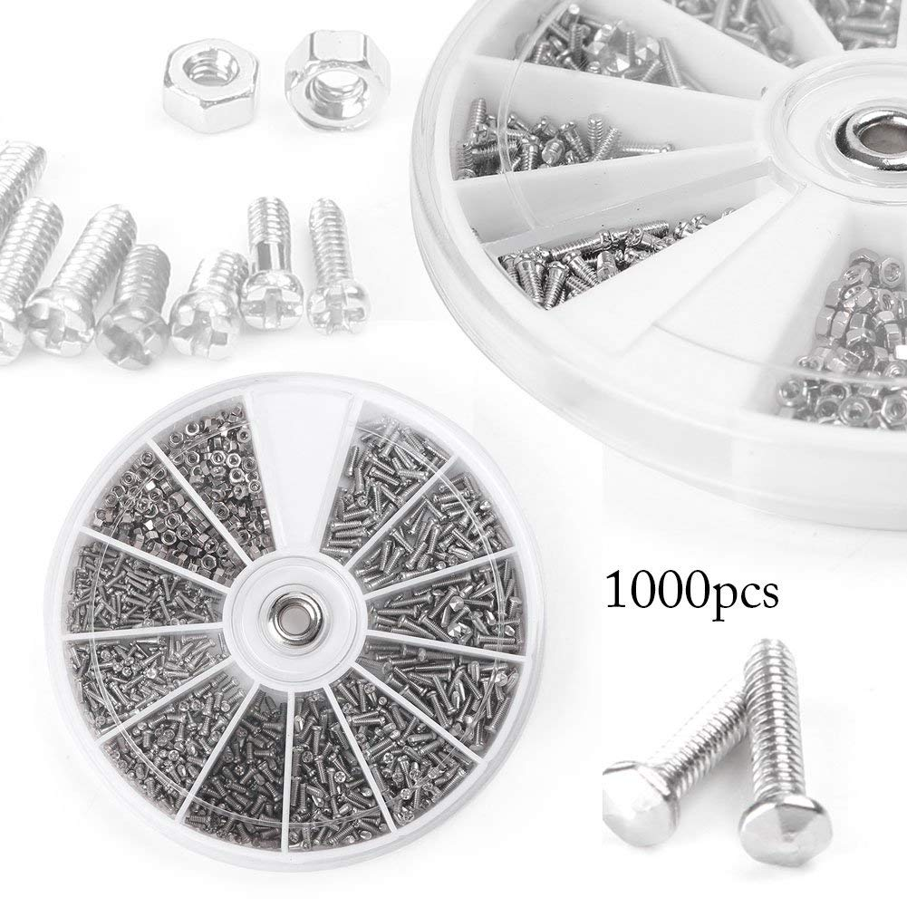 Beautylady 1000pcs 12 Kinds Small Screw Nuts Assortment Kit M1/M1.2/M1.4/M1.6