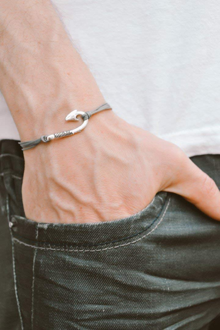 Get Quotations Men S Bracelet Gray Cord For With Silver Hook Charm Grey