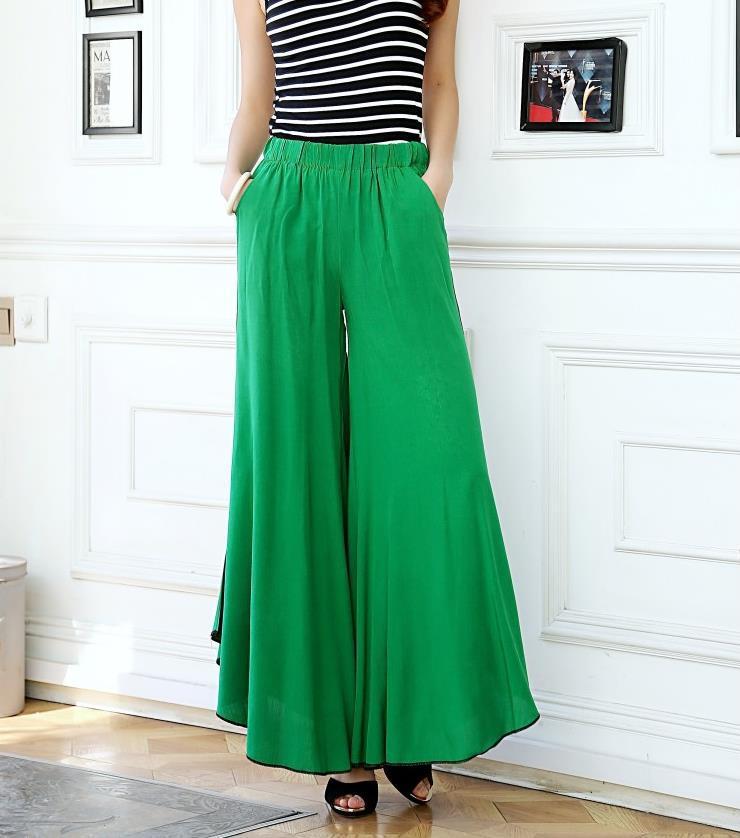 46004339e395 Get Quotations · 2015 summer women casual high waist wide leg linen dress  pants pantalon femme Ladies ethnic Floral