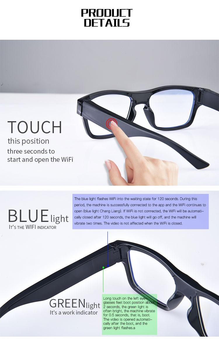 Smart Glasses Camera No Hole WIFi Hands Free Full HD Real 1080P Eyeglasses Camcorder Outdoor Sports Camera Wearable Camera Video