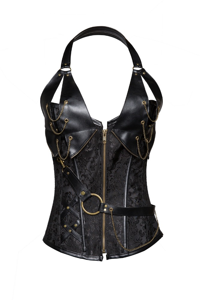 Sexy Steel Bone halter Faux Leather Steampunk Gothic Corset