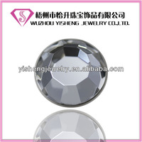 Round Faceted White Flat Back Synthetic Glass Cabochon Wholesale Decorative Stone