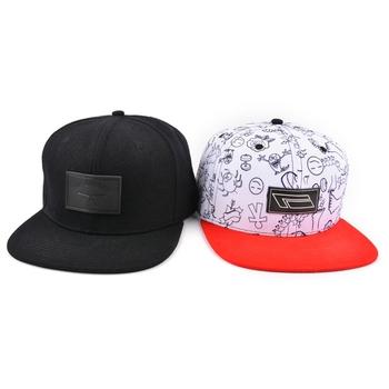 Cheap Custom White Print Leather Label Patch Adjustable Flat Brim Snapback Caps  Hats be1ba74c314