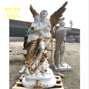 Life Size Fiberglass New Product Lady Golden Angel Winged Eros Statue For Home Garden Decor