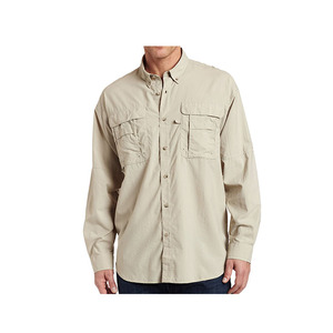 Wholesale Khaki Quick Dry Bahama Rolled 1/2 Sleeve Fishing Shirts