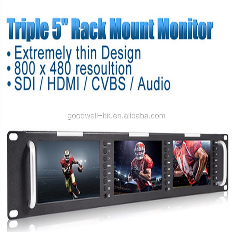 Peaking Focus Wide Viewing Angle 800x 480 Triple 5 Inch SDI Broadcast Monitor with 3G-SDI HDMI AV Input and Output