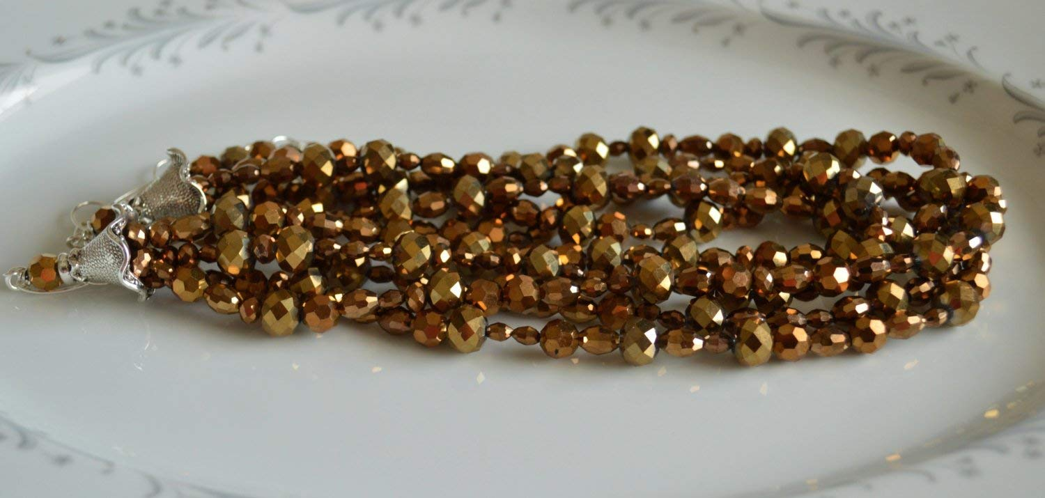 Gold crystal multi-strand necklace, layered necklace