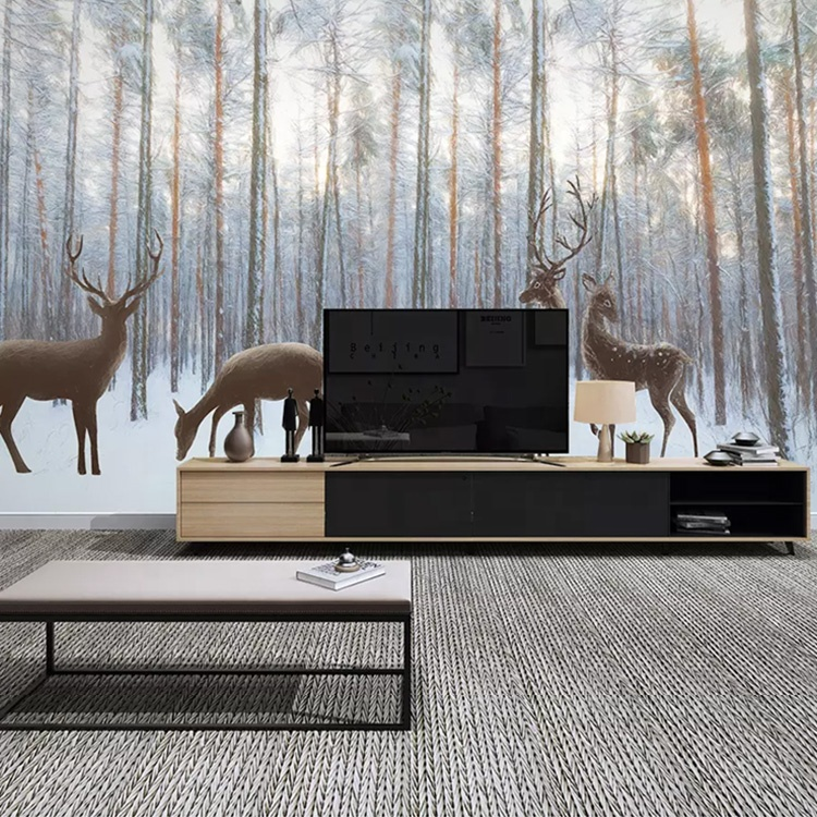Hand Drawn Nordic Forest Elk Tv Background Wall Home 3d Hd Mural Wallpaper  Decoration - Buy Home Wallpaper,3d Mural Wallpaper,Wallpaper Decor Product  ...