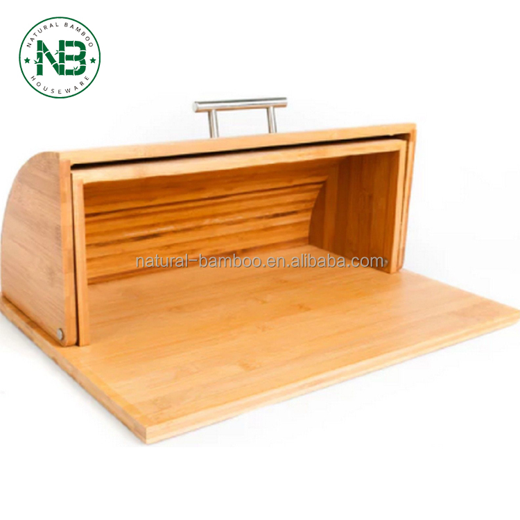 Bamboo Bread Box bamboo bread Cutting Board Roll Top Lid Home Kitchen Food Storage