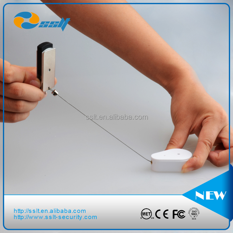 high quality steel cabled retractor/security recoiler/retractable security cable