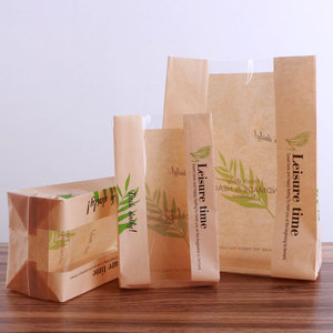 food delivery bread bags paper brown kraft paper bagsBag with window bakery packaging