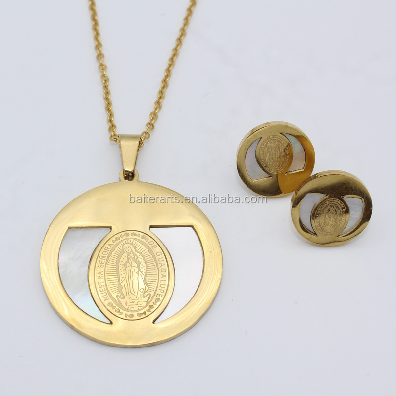 Gold Plated Stainless Steel Mother Of Pearl Shell Medal Virgin Mary Round Pendant Necklace Earrings Jewelry Set