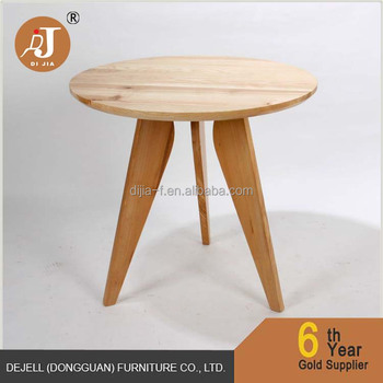 Wooden Round Three Legs Sofa Side Table Tall Coffee Table