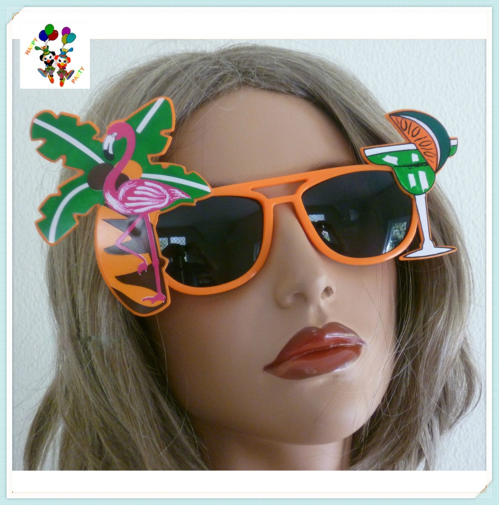 Hawaiian Palm Flamingo Tropical Beach Plastic Party Sunglasses HPC-2767
