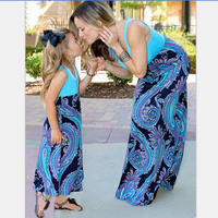 DM 505 new 2017 hoe selling long tank dress baby and mother dress blue print parent child clothing