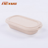 Cheap Recycled disposable bagasse brown small pulp paper take away fast food bento box