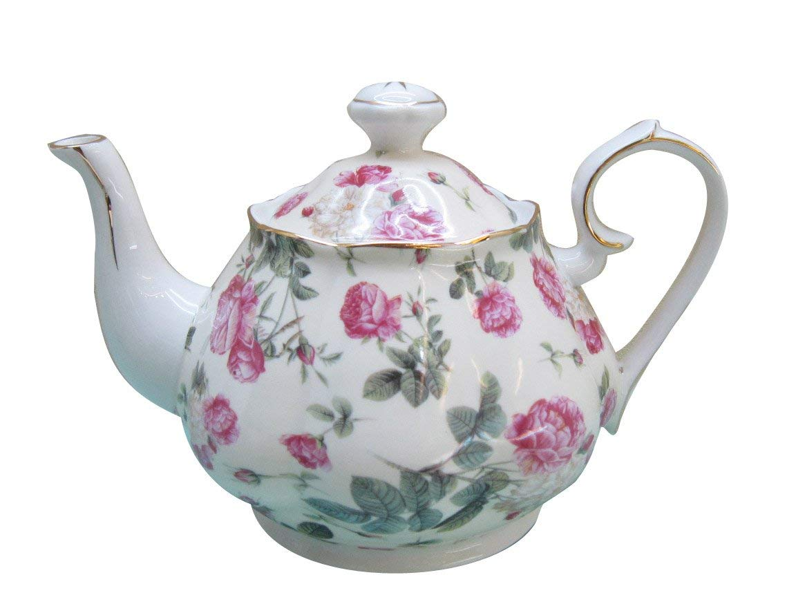 Gracie China Rose Chintz Porcelain 4-1/2-Cup Teapot Pink Rose Bouquet