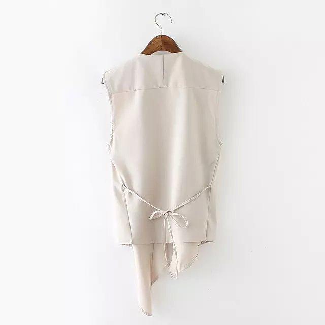 Лето блузы неправильная подол элегантный шифон кардиган приталенный жилет пальто без рукавов куртка пиджаки резервуары топы 7298