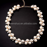 2015 Charming Women's Fashion Shiny Alloy Golden Rhinestone Faux Pearl Beads Necklace Jewelry