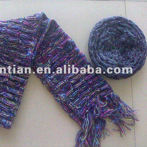 Fashion lady's Multicolor knitted Winter beret hat and scarfs sets