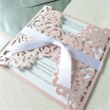 pink glitter lace wedding invitations laser cut folded invitation
