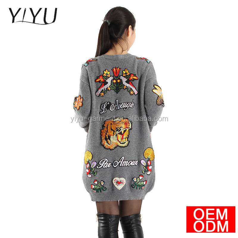 winter Fashion women Long sweater autumn 2017 female casual ladies flowers tiger embroidery cardigan