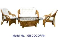 Durable Indoor Living Room Furniture Rattan Sofa Set In Modern Armchair Design With Loveseat And Glass Top Coffee Table