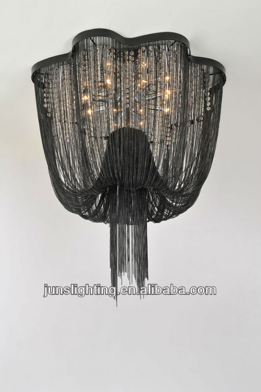 Black Metal Chain Hanging Chandelier With Crystal For Hotel – Crystal Chandelier Chain