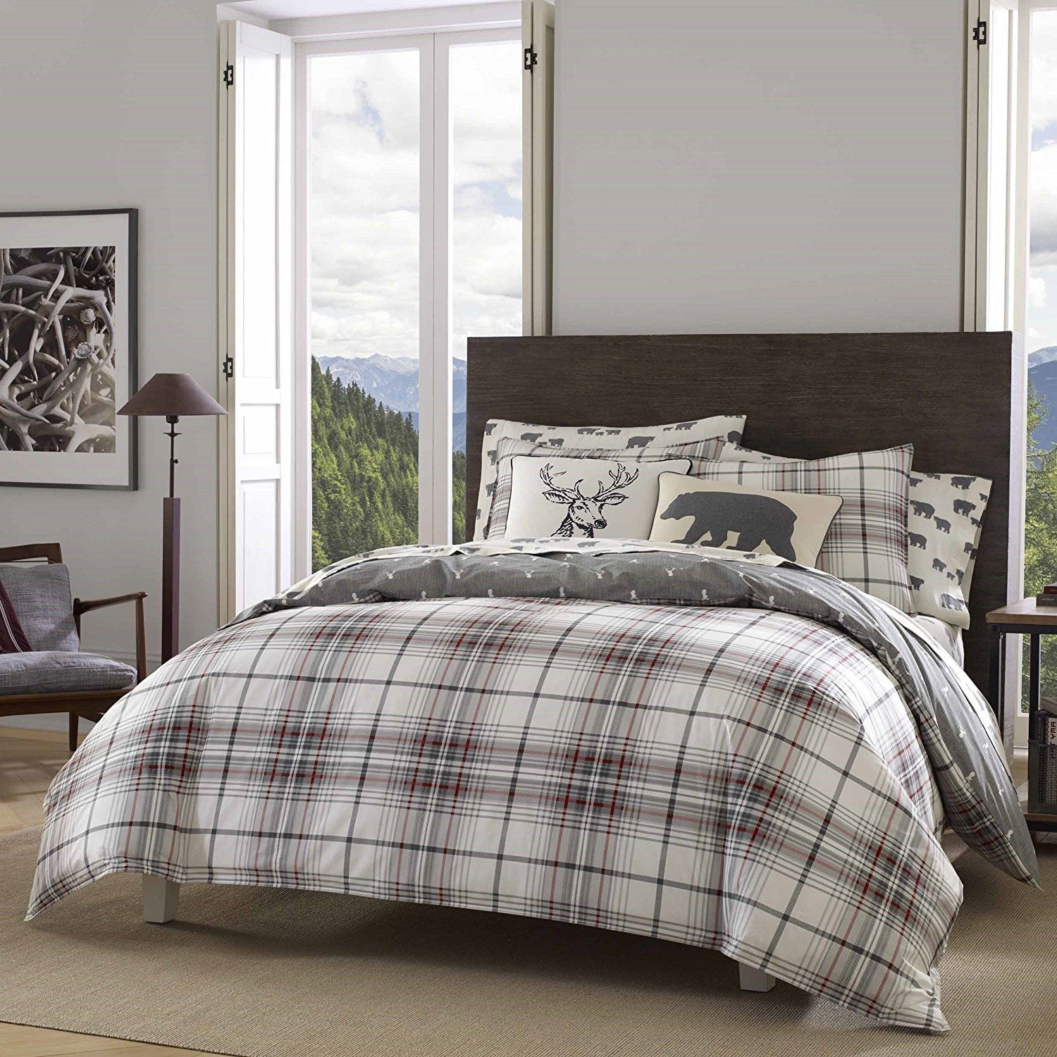 3 Piece Red Plaid Full Queen Size Duvet Cover Set Cabin Themed Lodge Country