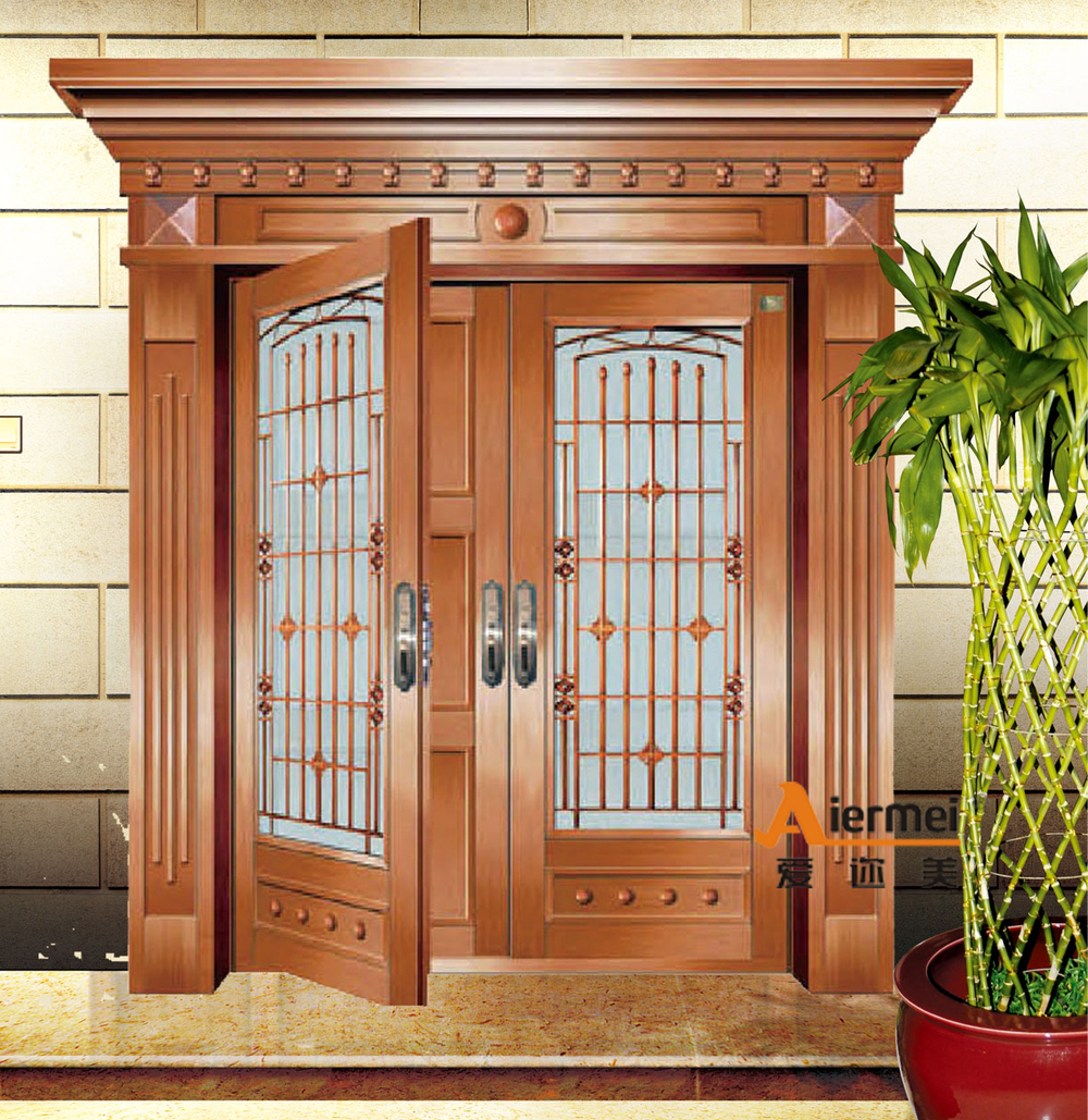 2015 fashioal double door design cooper exterior glass for Double front doors with glass