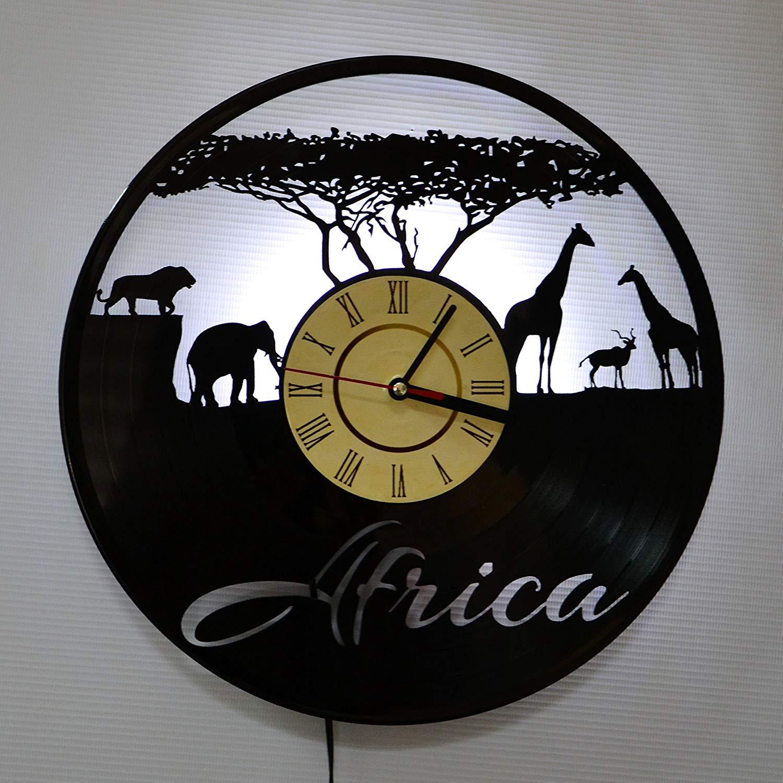 AFRICA WHITE LED Vinyl Clock Night Light Night Lamp I Love Led Vinyl Clock Wall Light Backlight Color Remote Controller Vintage Handmade Home Decor Art Decorative Wall