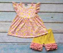 Lemon Print Pink Ruffle Pants Summer Girls Boutique Outfits Children Remake Clothing Sets Baby Kids Clothes