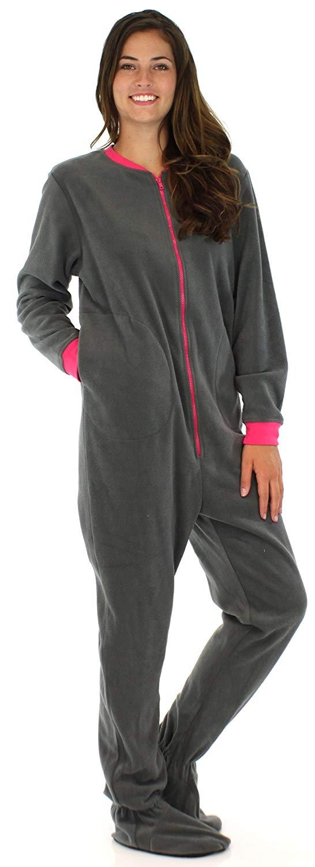 PajamaMania Women's Sleepwear Fleece Footed Onesie Pajamas
