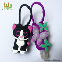 Hot Sale New variety cute cat silicone hand gel sanitizer case