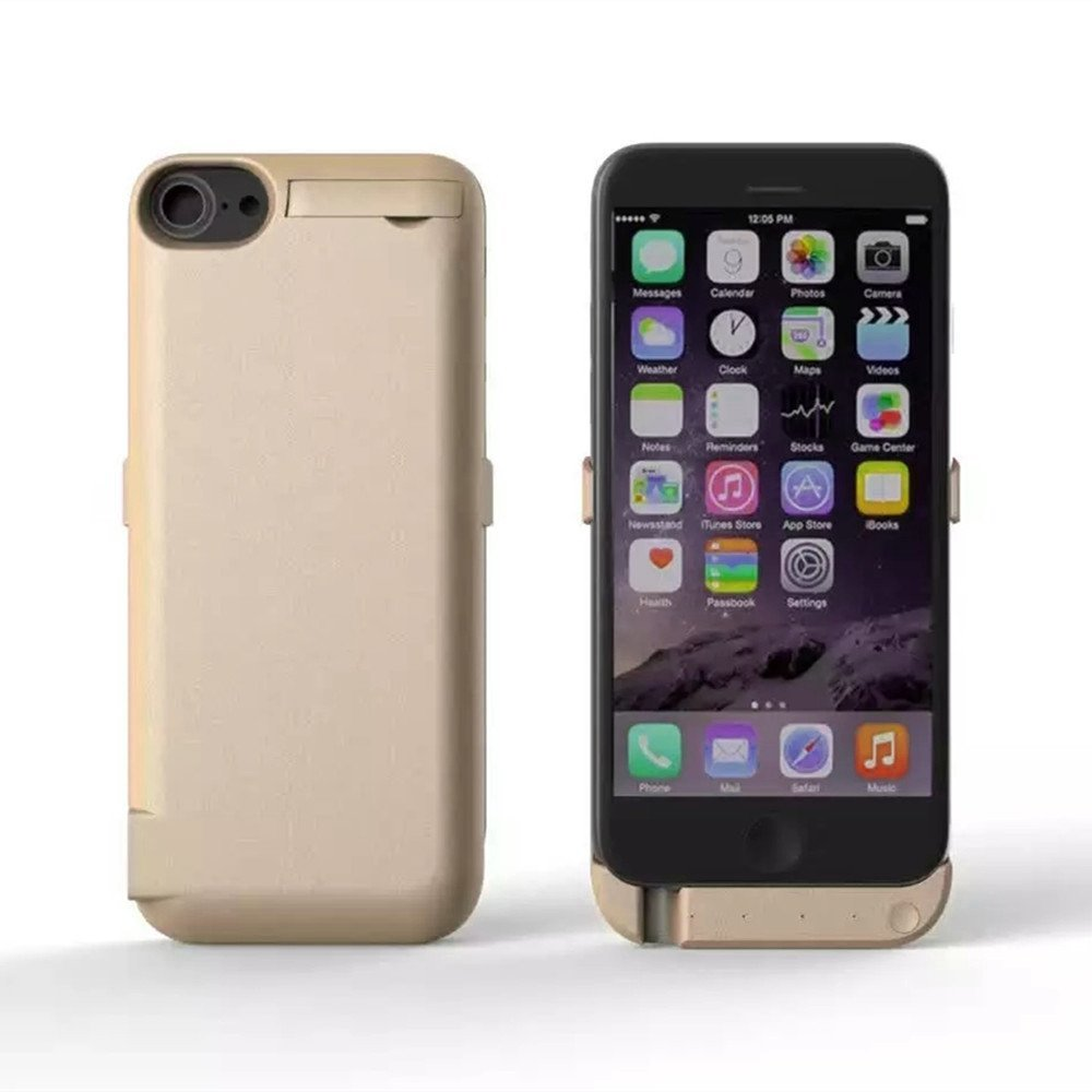 5000mAh iPhone7 Battery Case, MinzyCase Ultra Thin Type Standby Switch Lighting Charging BUILT-IN Battery Full Power Bank Protection Back Case for iPhone7 (Gold, 4.7inchs)