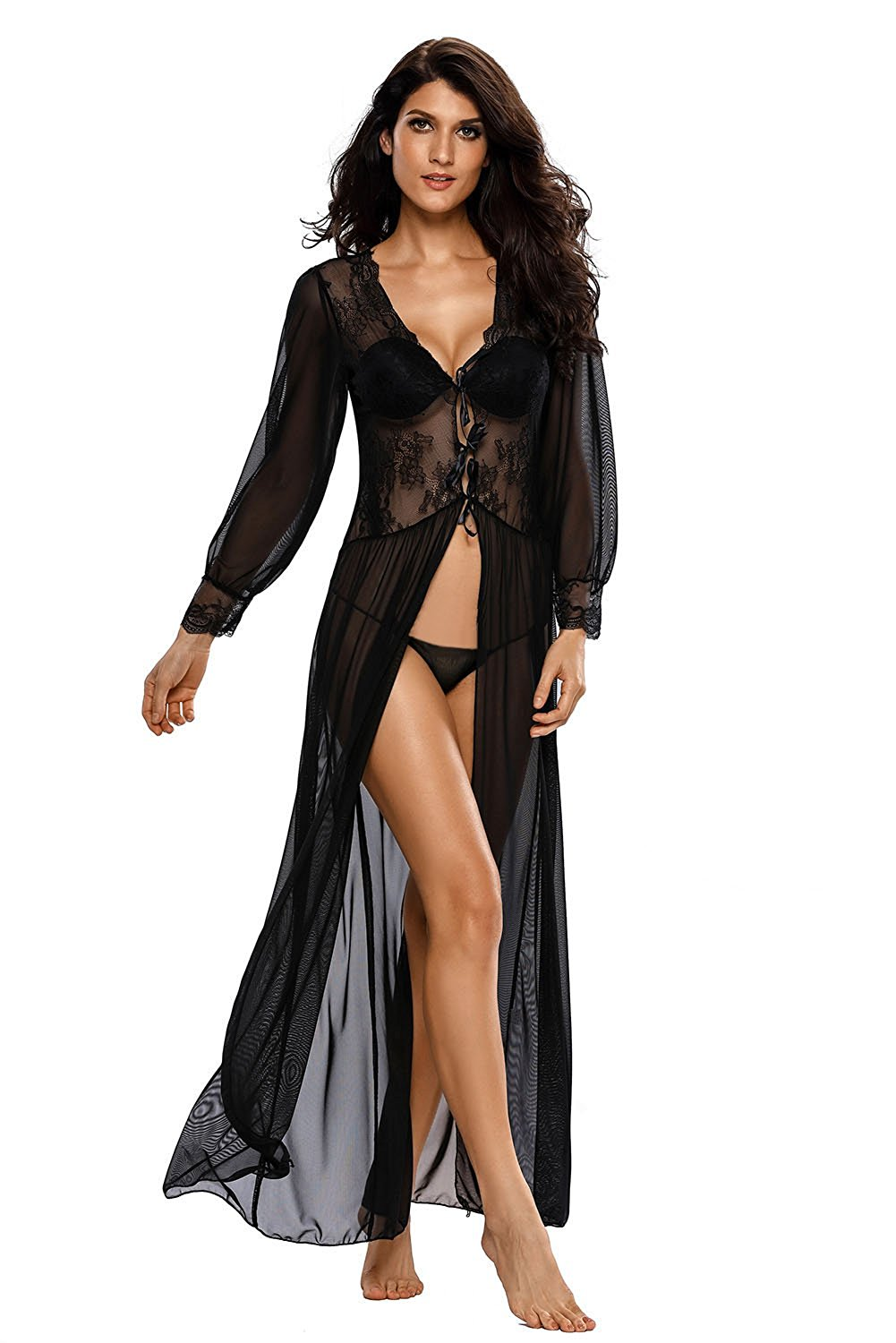 Get Quotations · Ouregrace Women Sexy Sheer Long Sleeve Lace Robe with  Thong Lingerie Set Sleepwear Nightgowns 792ad8381
