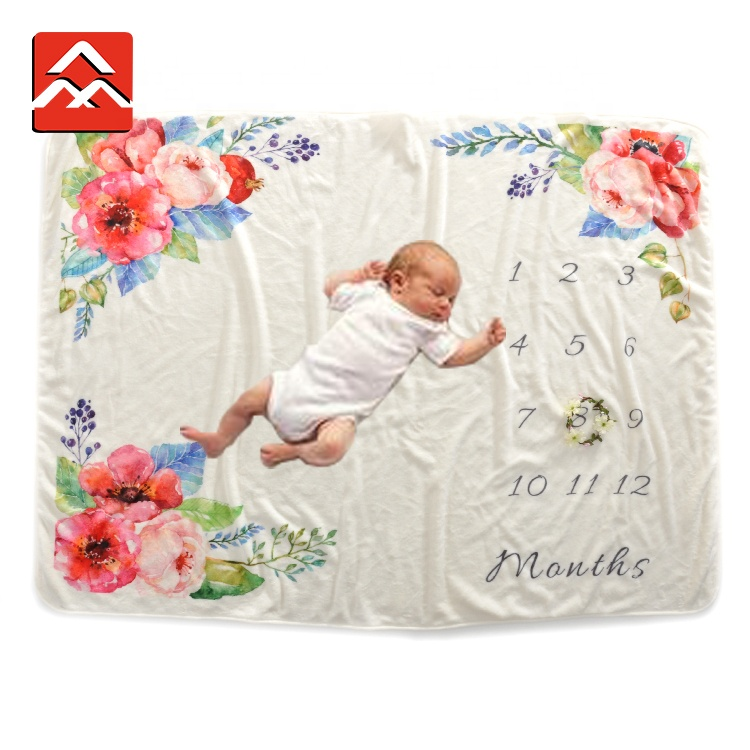 100% Polyester Newest Design Ultra Soft Printed Minky Baby Monthly Milestone Blanket, Custom color