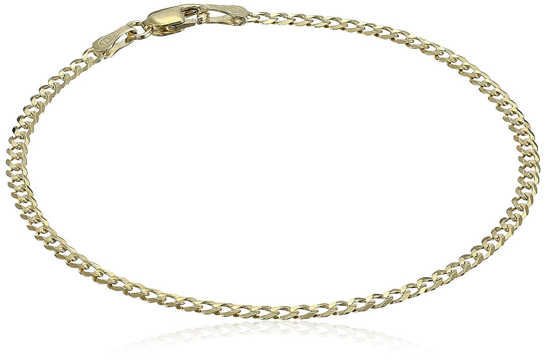 "14k Solid Yellow Gold Cuban Curb Link Bracelet 2.4mm, 7"""